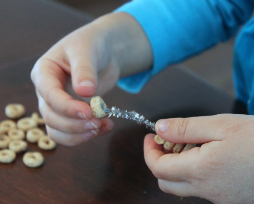 stringing cheerio hearts