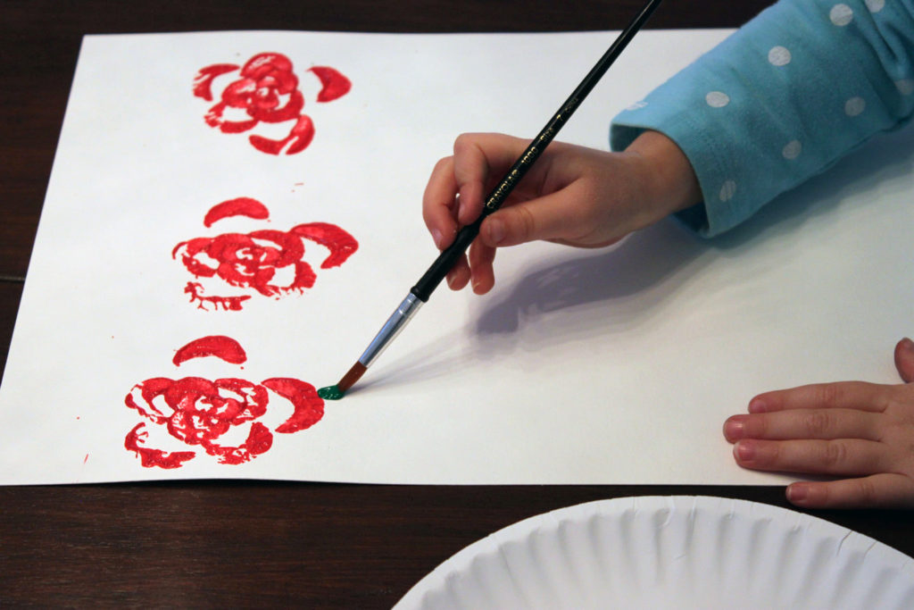 painting celery roses
