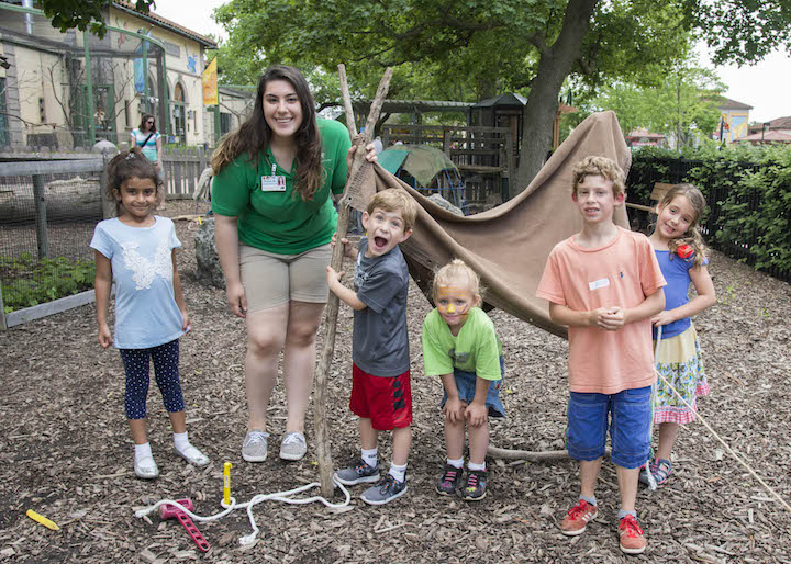 At Brookfield Zoo's Hamill Family Play Zoo, kids can build animal homes and then pretend to be the animals.