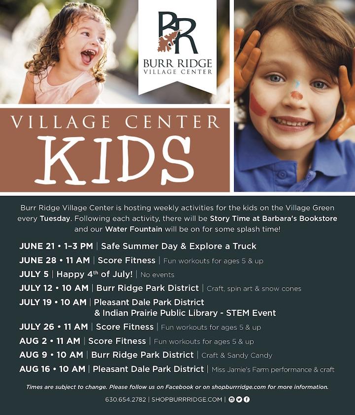 burr ridge village center kids activities