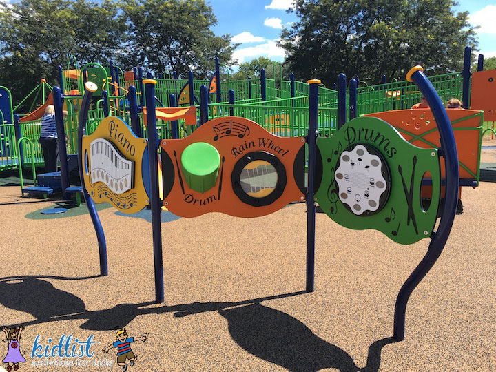Children and adults of all ages can enjoy making music at the playground.