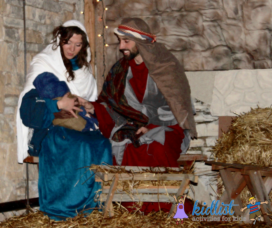 Live nativity scene featuring Mary, Joseph, and Jesus
