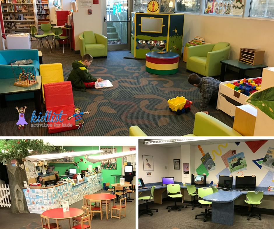 La Grange Park library collage with children's play area, tables, and computers