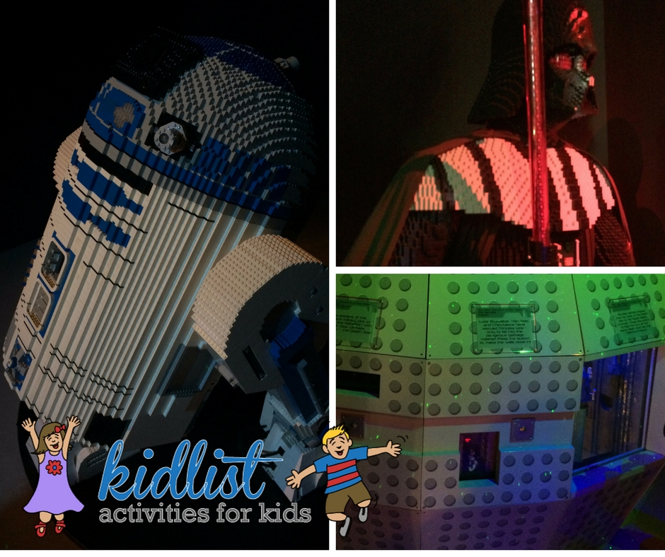 R2-D2, Darth Vader, and Death Star made from LEGOs