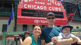 Bringing kids to the ball game - our family standing outside of Wrigley Field last summer for our son's first game!