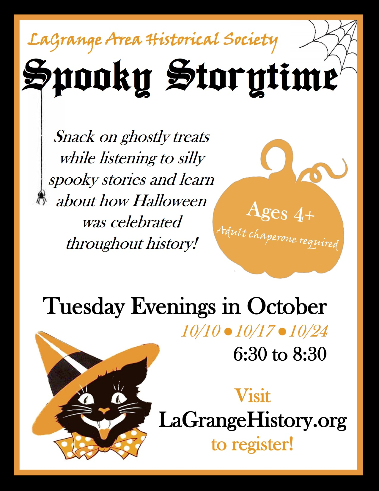 Join us this October for Spooky Storytime! Come participate in spooky and  silly Halloween stories, play games, have snacks, and learn about how  Halloween ...