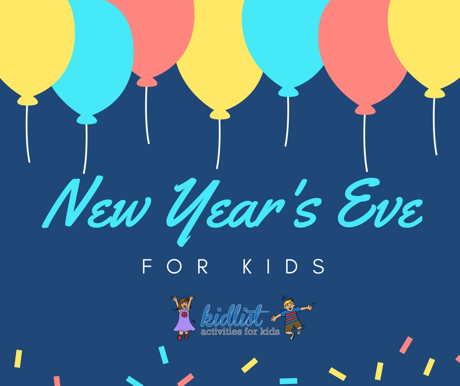 New Year's Eve for Kids text with illustrated balloon background