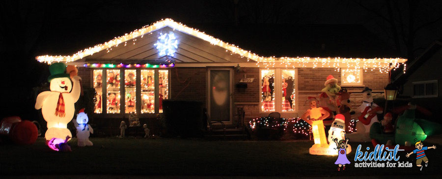 this entire house is decked out even the sides the bursting star on the roof is a nice touch too there is so much to look at so youll definitely want