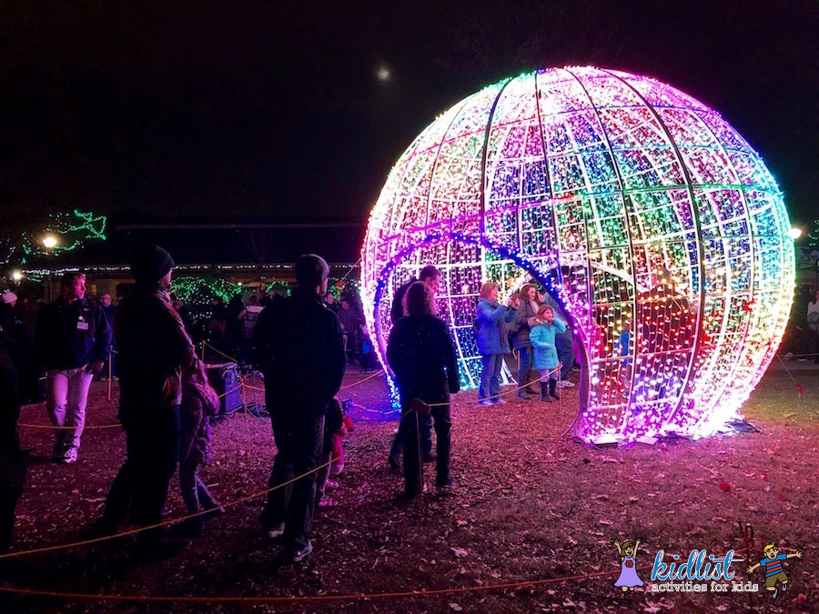 take your own photos in this huge orb with color changing lights heres an idea have your kids stand about 3 4 feet in front of the wall of lights - Christmas Lights At The Zoo